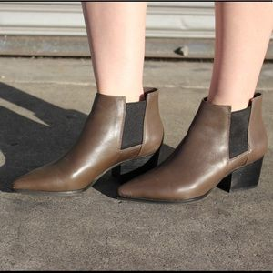 Brown Taupe Leather Ankle Booties